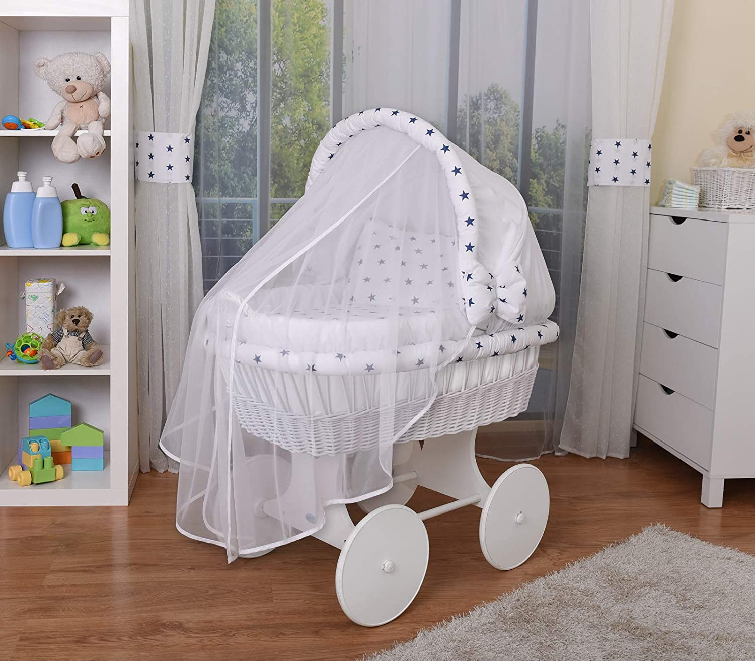 4 models available,textile colour pink WALDIN Baby wicker cradle Moses basket