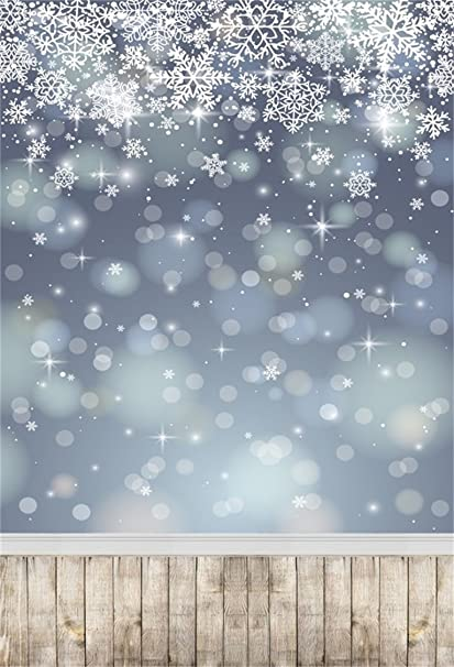 White Christmas Snow Background.Aofoto 5x7ft Snowflake Backdrop White Christmas Photography Background Abstract Falling Snow With Vintage Wood Plank Kid Baby Girl Artistic Portrait