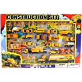 Metro Complete Construction Crew 43 Piece Mini Toy Diecast Vehicle Play Set, Comes with Street Play Mat, Variety of Vehicles and Figures