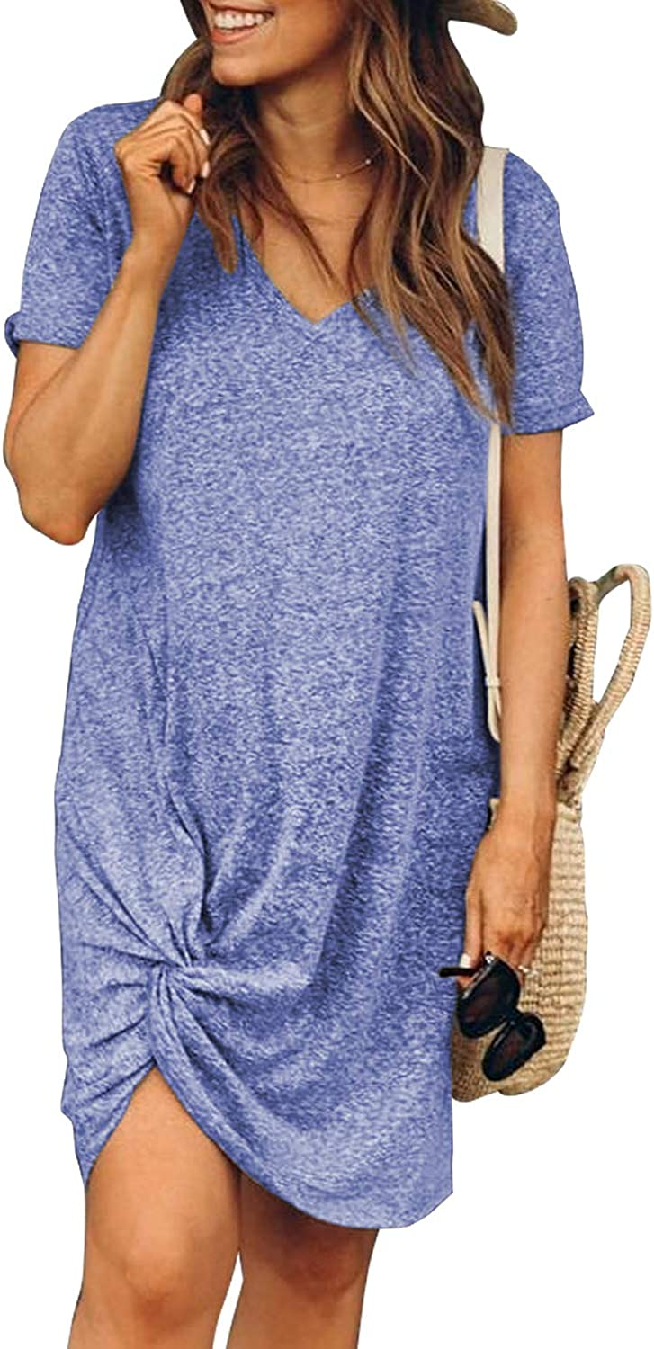 Elapsy Womens Summer Casual Beach Dress Buttons Crew Neck Tank Tunic Shirt Dresses with Pocket