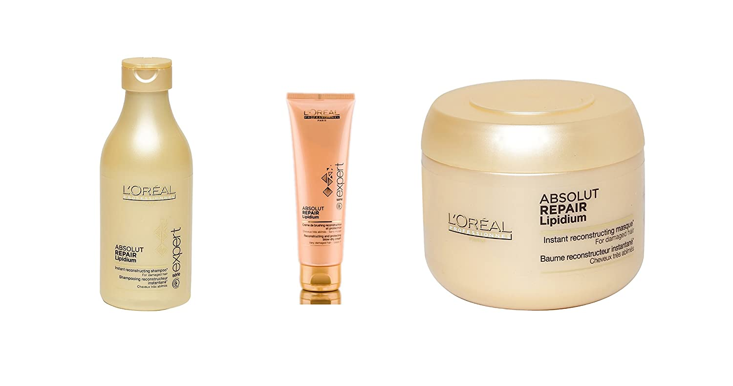 7af1f3cfd Buy L'Oreal Expert Absolut Repair Lipidium Set of 3 (Shampoo+Leave in  Conditioner+Hair Mask) with Ayur Product in Combo Online at Low Prices in  India ...