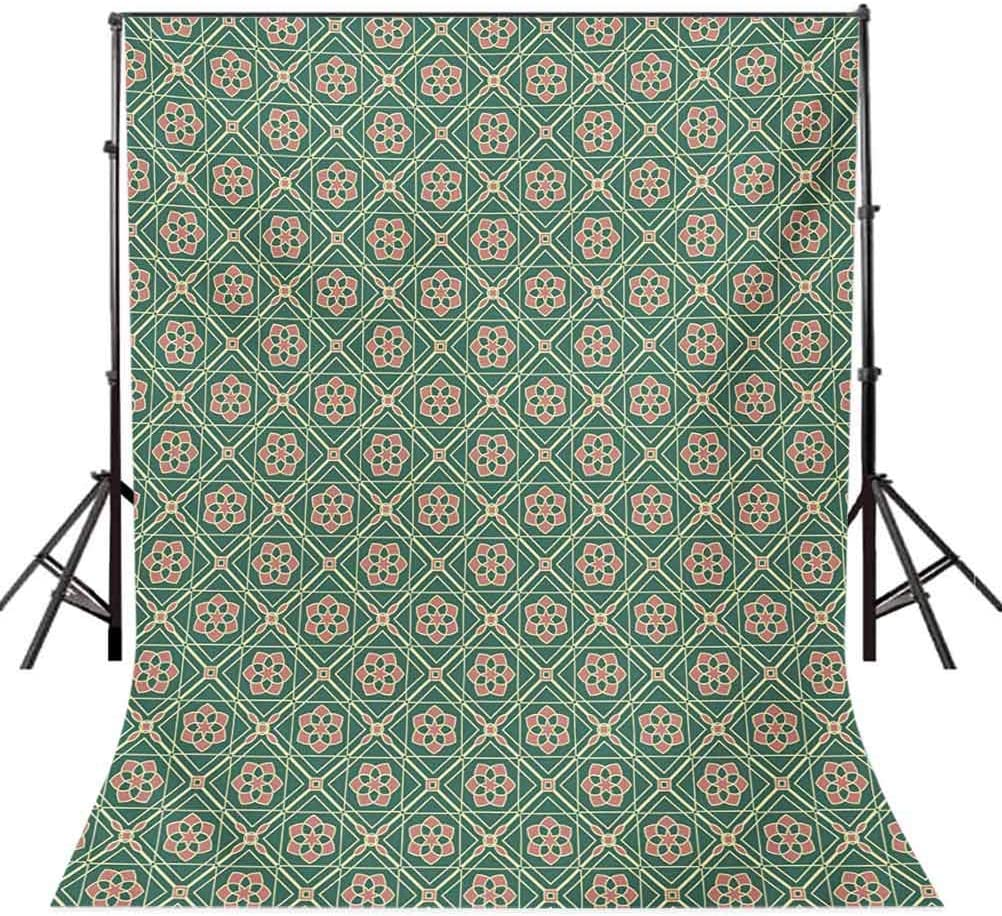6.5x10 FT Photography Backdrop Spring Seasonal Mosaic Figures Vertical Floral Far Background for Photography Kids Adult Photo Booth Video Shoot Vinyl Studio Props Jade Green Pale Pink Peach
