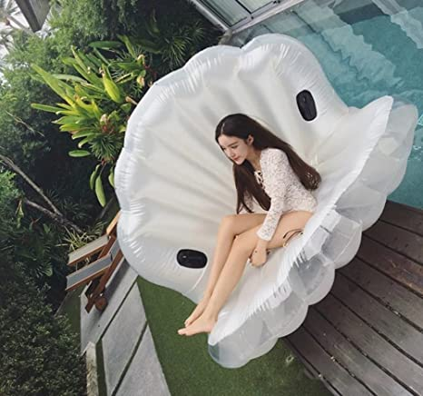 Amazon.com: DMGF Inflatable Giant Seashell Swimming Pool Float With Rapid Valves Air Mat Summer Water Sport Raft Toy For Adults Kids(Pearl White/White ...