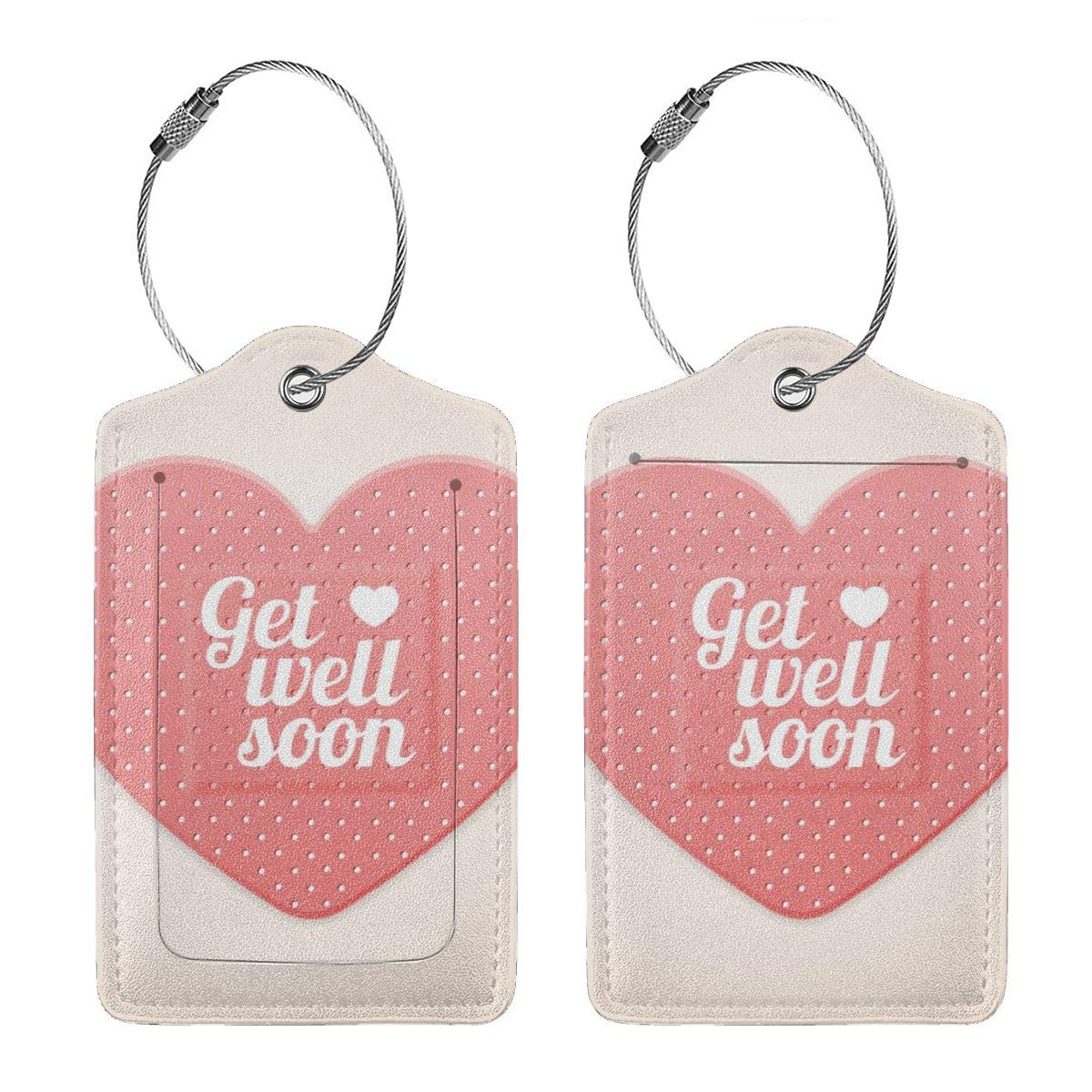 Lucaeat Get Well Soon Pattern Luggage Tag PU Leather Bag Tag Travel Suitcases ID