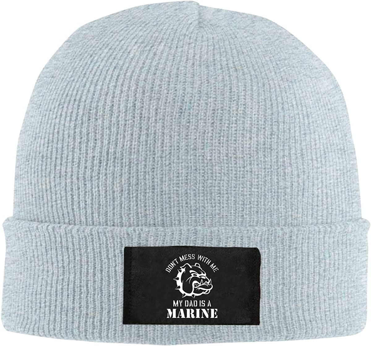 Mess with Me My Dad is A Marine Unisex Warm Winter Hat Knit Beanie Skull Cap Cuff Beanie Hat Winter Hats