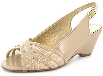 dbc033f71ce Womens Ladies Nude Patent Comfort Plus Wedge Slingback Shoes