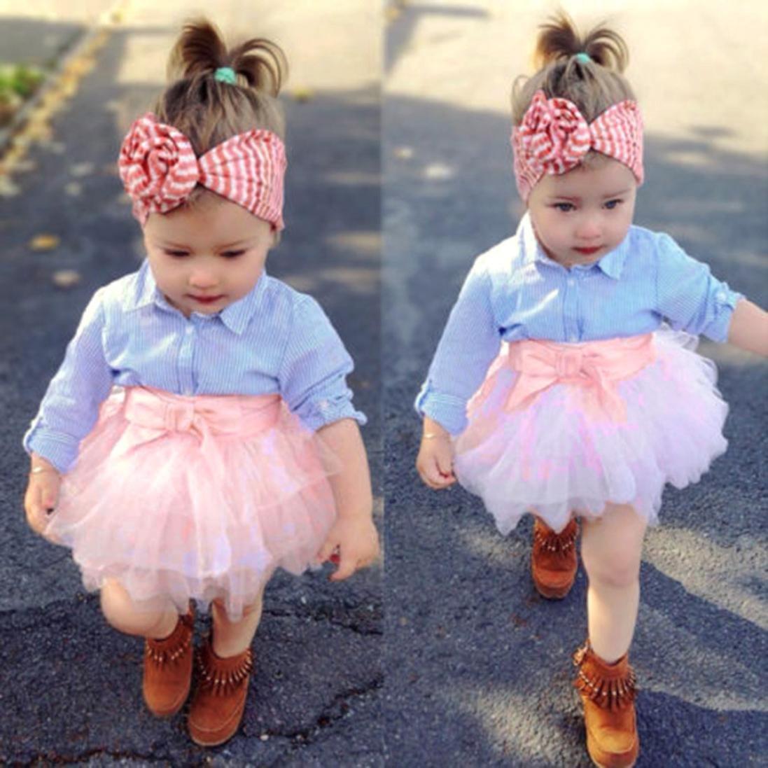 ASHOP Bebé y Niñas ropa Blusa de manga larga con estampado de rayas de chica + Falda bowknot: Amazon.es: Ropa y accesorios