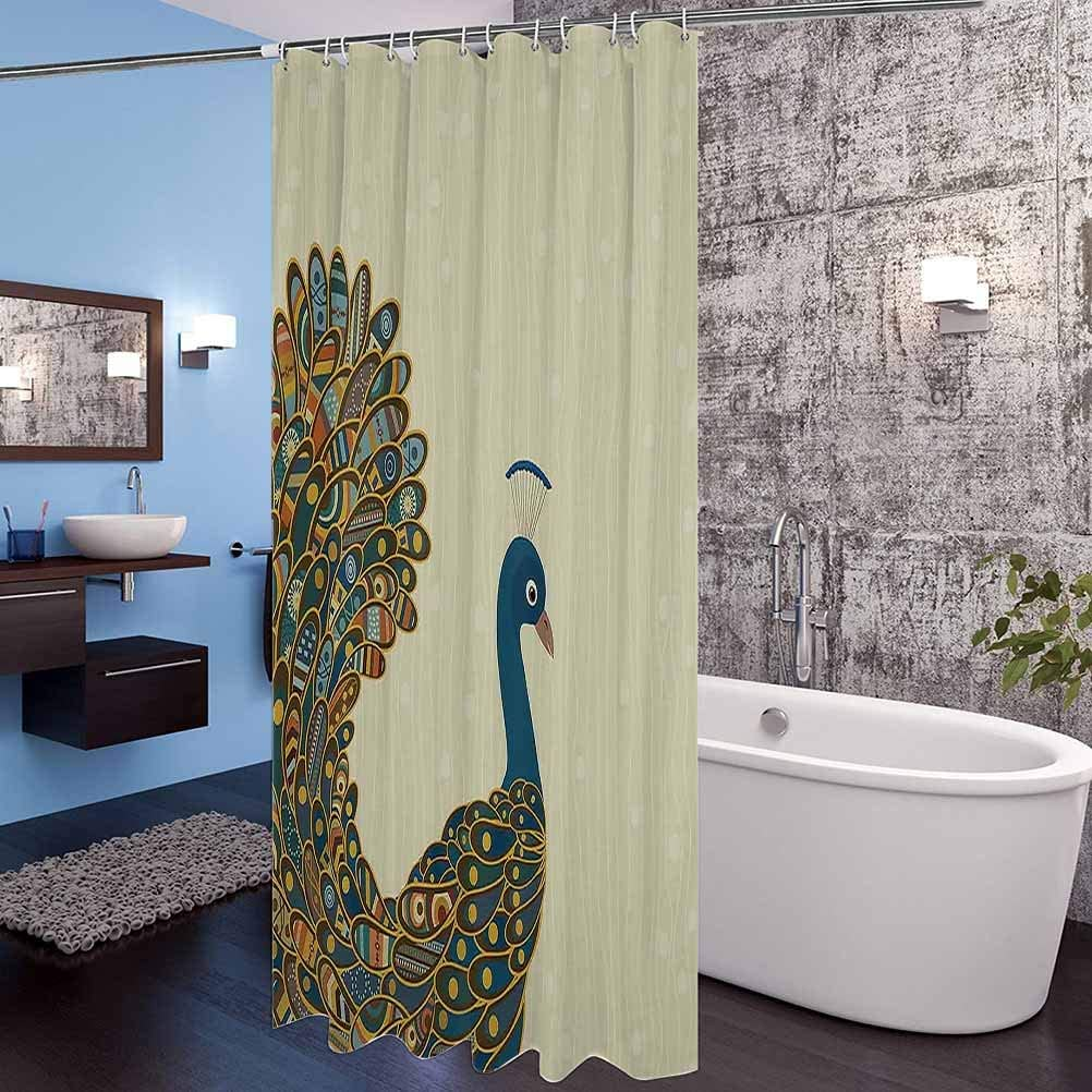 Interestlee Peacock Decor Shower Curtain Peacock Pattern Illustration Exotic Wildlife Feather Ornament Vintage Oriental Cloth Fabric Bathroom Decor with Hook 108 x 72