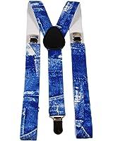 Mens Braces Suspenders Elastic Clip-On Adjustable in Camo / Tartan / Union Jack / Weed Leaf