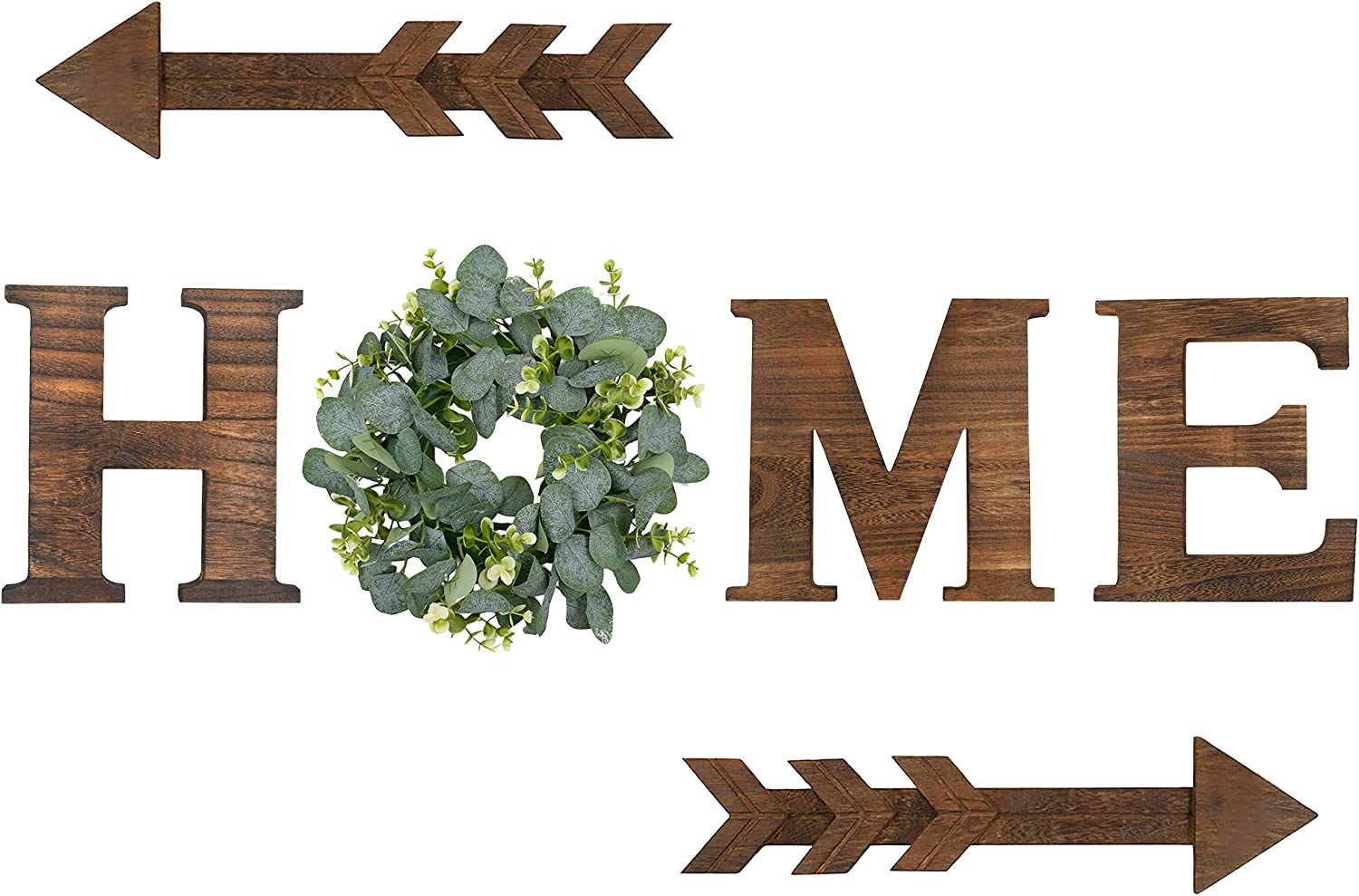 Wood Home Sign Wall Hanging Decor with Artificial Eucalyptus Wreath Rustic Housewarming Decoration, Decorative Wooden Letters Wall Art for Living Room House
