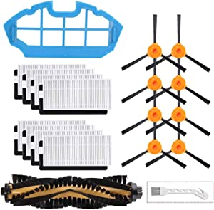 LesinaVac Replacement Filters and Brushes for Ecovacs Deebot N79 N79s Robotic Vacuum Cleaner.(8 Side Brushes,8 Filters,1 Main Brushes, 1 Primary Filter, 1 Cleaning Tool.)