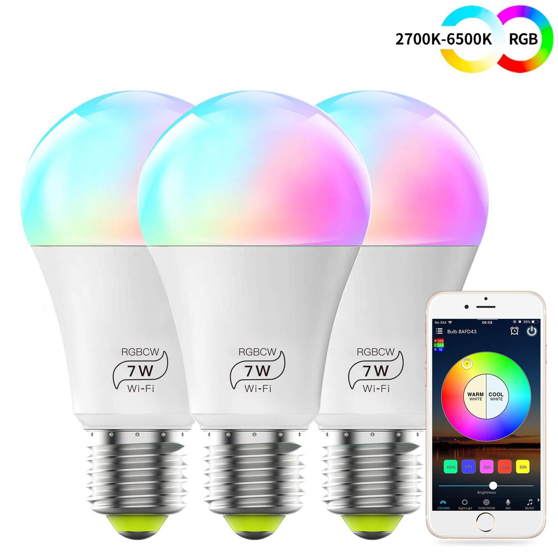 Compatible avec Alexa Compatible avec Google Home Pas de Hub Requis(4Pack) Couleur RGB+ Blanc Dimmable Siri et IFTTT 7W Intelligente Lumiere de Controle Ampoule WiFi LED E27