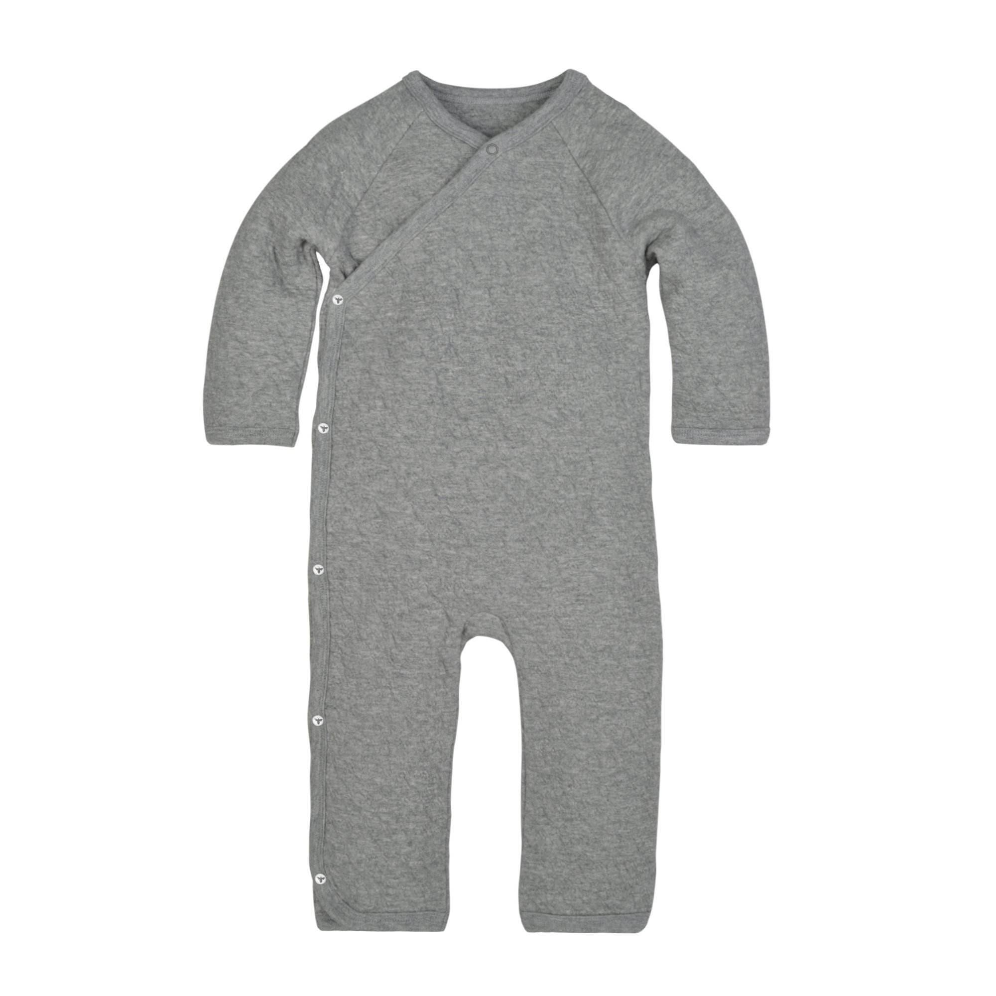 Burt's Bees Baby Unisex Baby Organic One-Piece Romper Coverall, Heather Grey Quilted Kimono, 18 Months