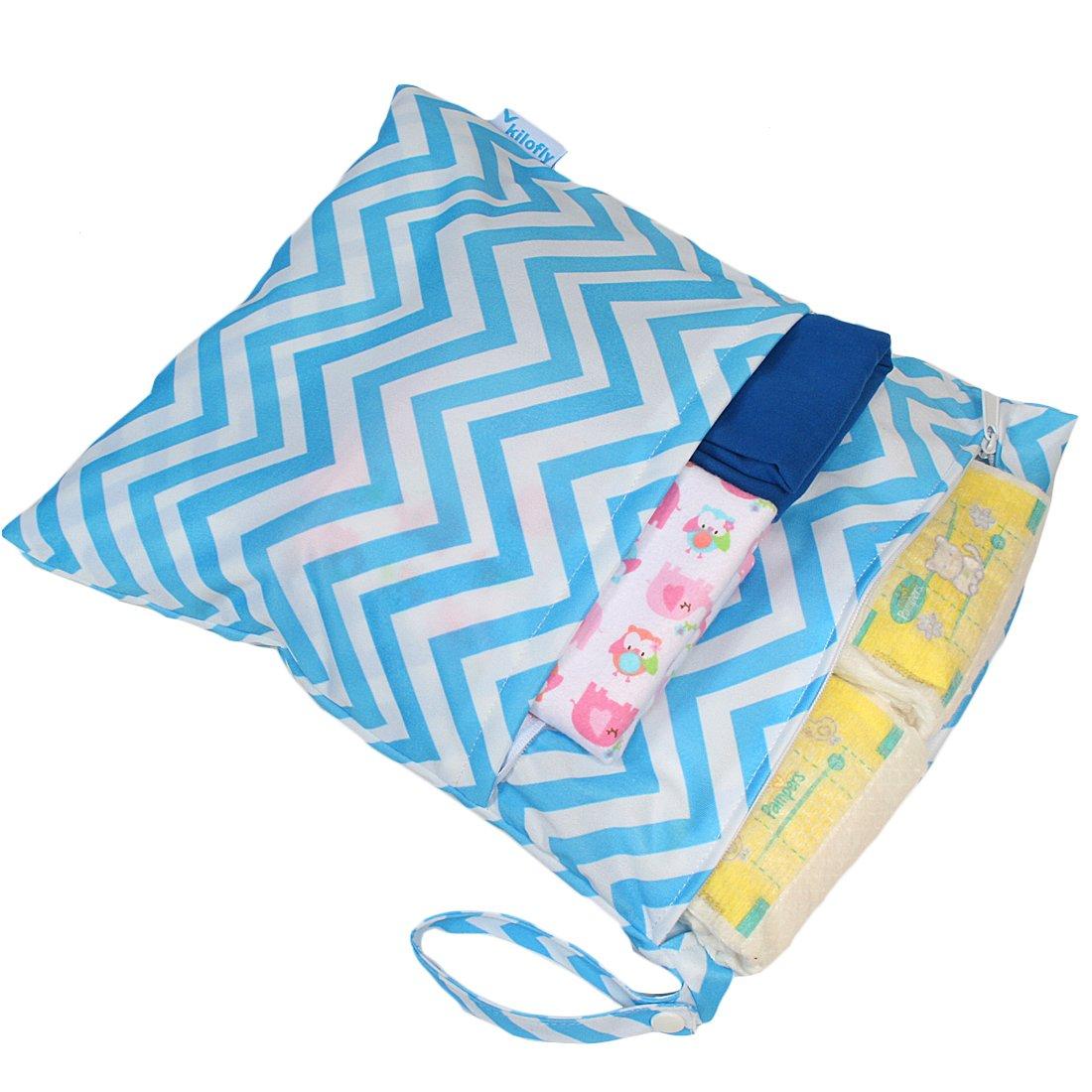KF Baby Diaper Bag Insert Stroller Organizer, Blue + Wet Dry Bag Value Combo kilofly