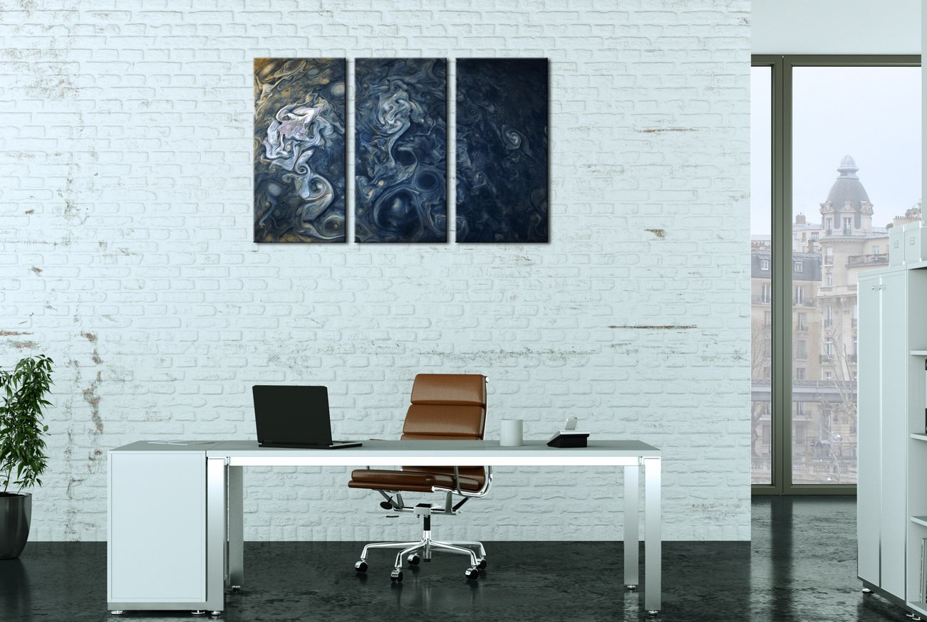 Yin Art 3-Panel Split Canvas Print Wall Art Set – Blue Jovian Clouds On The Surface of Jupiter