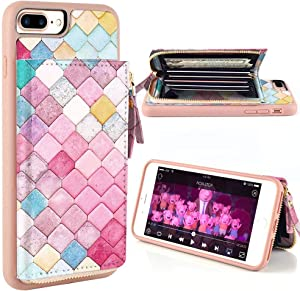 ZVE iPhone 8 Plus Case, iPhone 7 Plus Wallet Case with Credit Card ID Card Holder Slot Money Pocket Protective Print Leather Cover Zipper Wallet Case for iPhone 8 Plus/7 Plus 5.5 inch - Mermaid Wall