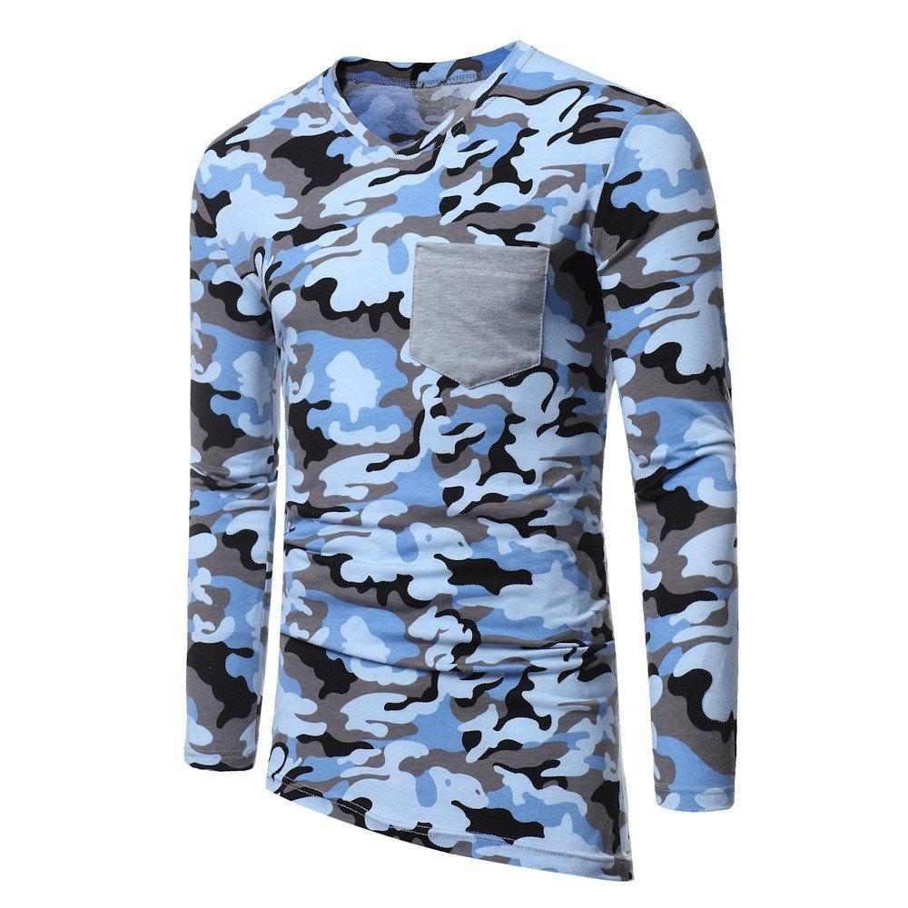 Hombre blusa manga larga Otoño,Sonnena ❤ Blusa de otoño de los hombres Camiseta de manga larga con cuello en V y remiendo casual camuflaje Blusa ...