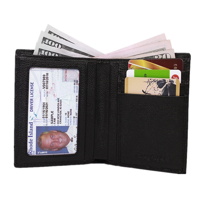 Men RFID Blocking Front Pocket Wallet Leather ID Protector Bifold Slim Black