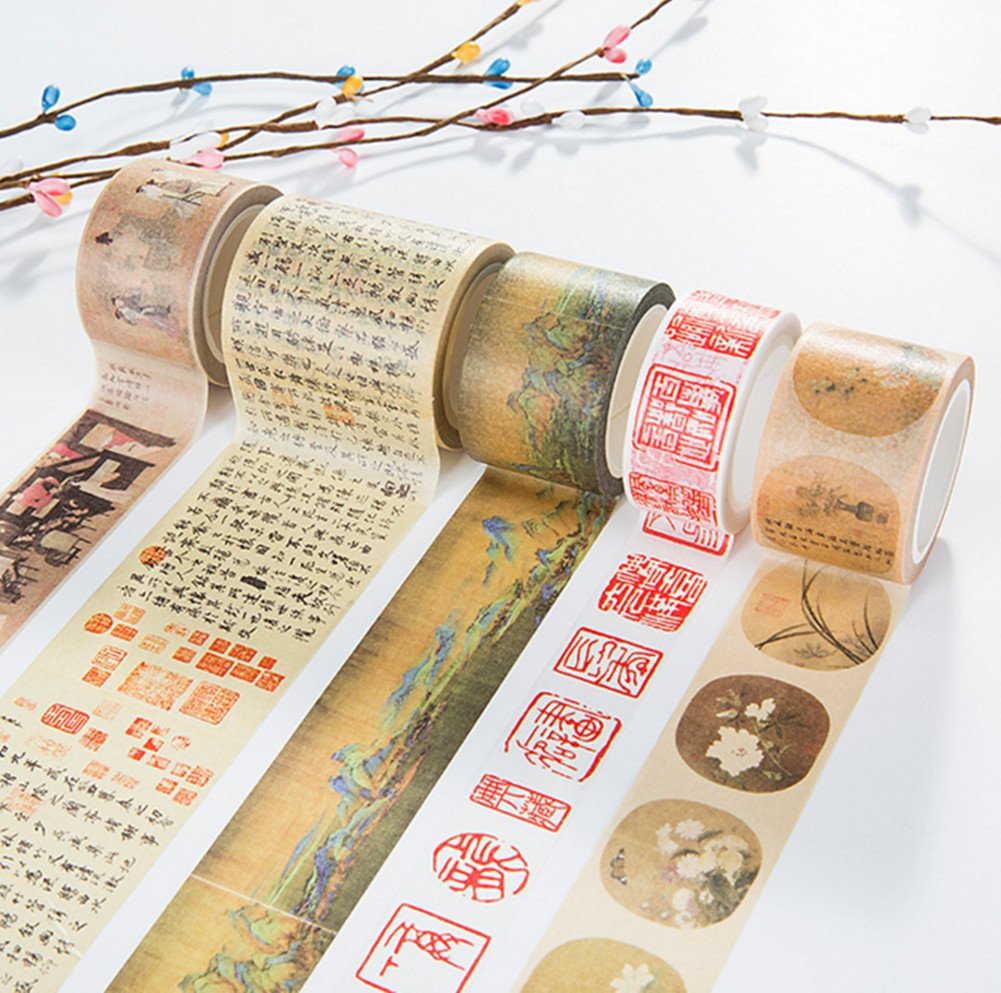 Skyseen 5PCS Decorative Japanese Washi Masking Adhesive Tape –Chinese Classical Poetry Ancient Painting Series- for DIY S00974