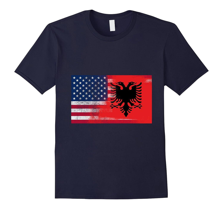 Albanian American Half Albania Half America Flag Shirt-TD