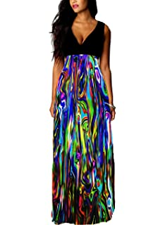 101c798ec1c Roiii Color Block Women V Neck Celeb Summer Casual Cocktail Party Glow Maxi  Long Dress Plus…