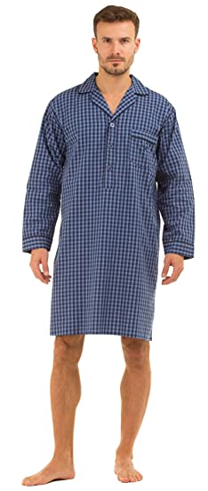 Mens Pure Cotton Nightshirt Stripe Summer Lightweight Check  Amazon.co.uk   Clothing c492bfd97