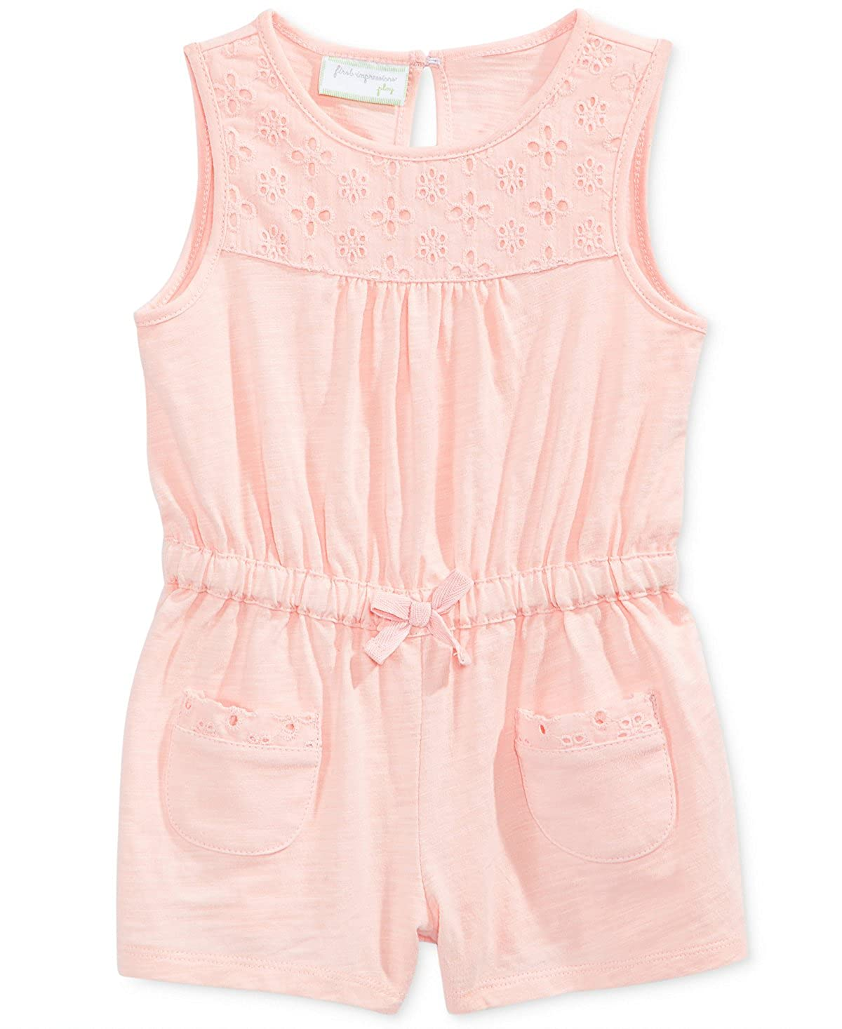 ba029c6fa86 Amazon.com  First Impressions Baby Girls Eyelet-Trim Cotton Romper  Clothing
