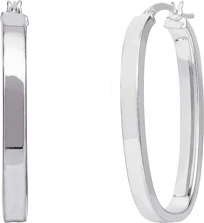 ELLEN TRACY Sterling Silver Rectangular Square Hoop Earrings
