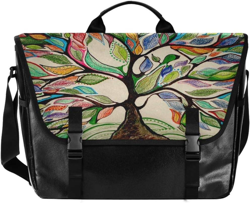 Shoulder Bag Letter Traveling Camping Casual Canvas Satchel for Men Women Student Colorful Tree Four Seasons Messenger Bag Laptop Computer