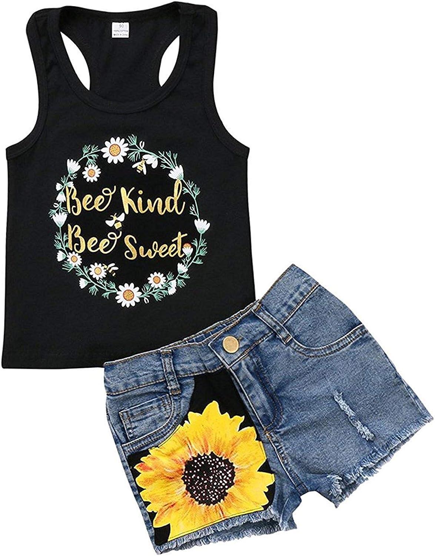 2pcs/Set Toddler Kids Baby Girl Sleeveless Floral T-Shirt Top Sunflower Denim Jeans Shorts Outfits 1-8T