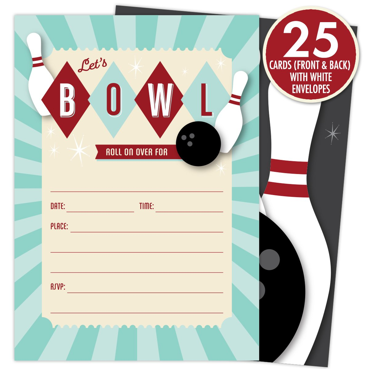 Amazon Com Bowling Party Invitations Set Of 25 Fill In Style
