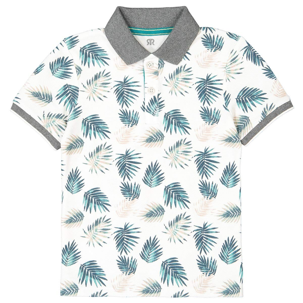 La Redoute Collections Leaf Print Short-Sleeved Polo Shirt, 3-12 Years Beige Size 12 Years (150 cm)