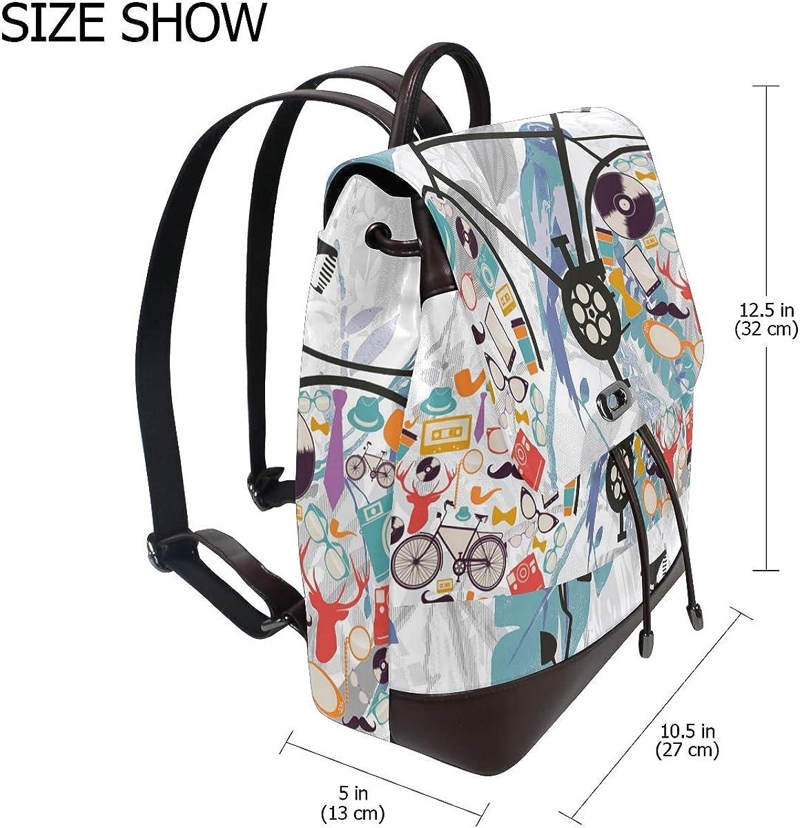 PU Leather Shoulder Bag,Excellent Bike Wheel Backpack,Portable Travel School Rucksack,Satchel with Top Handle