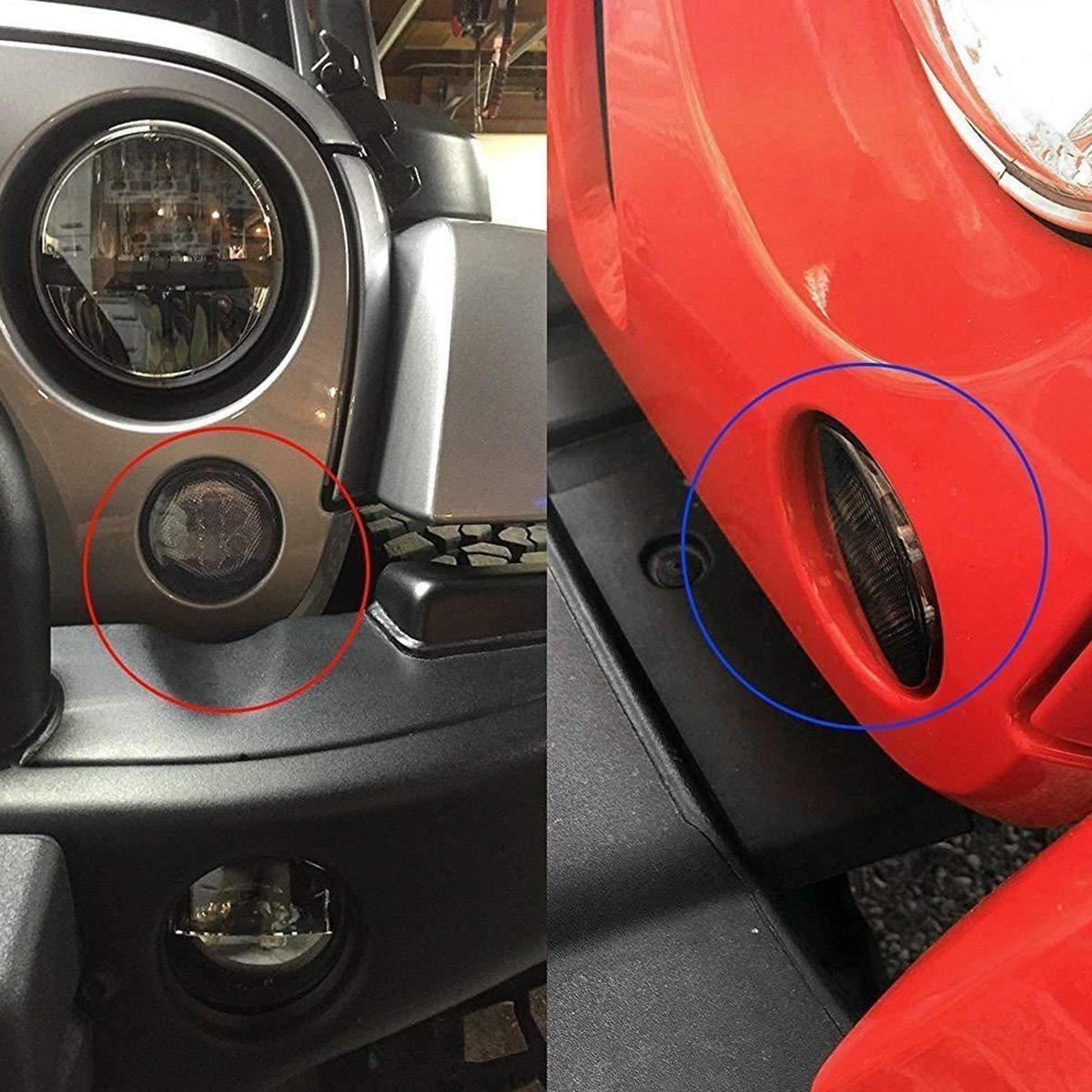 Paquete de 2 Luces /ámbar de se/ñal de Giro Luces LED Humo Parrilla Delantera para Jeep Wrangler JK TJ