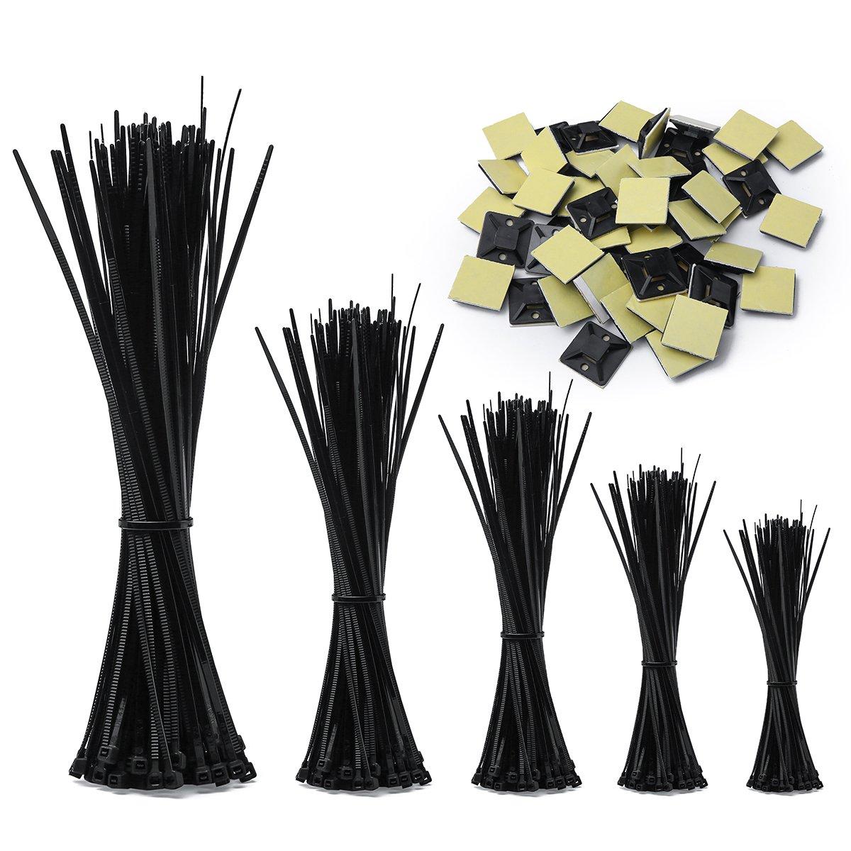 kabelbinder, UV Bestä ndig 500 Stck 100/140/160/200/300 mm zip ties(Und 50 Kabelbinderhalter) schwarz SUNUGGE