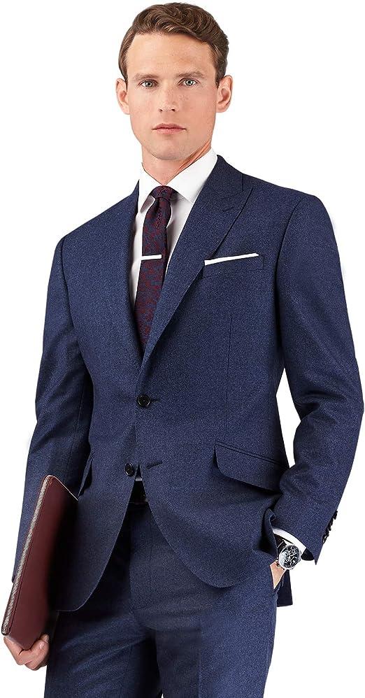 T.M.Lewin Hockney Slim Fit Trousers in Blue Barberis Wool Twill
