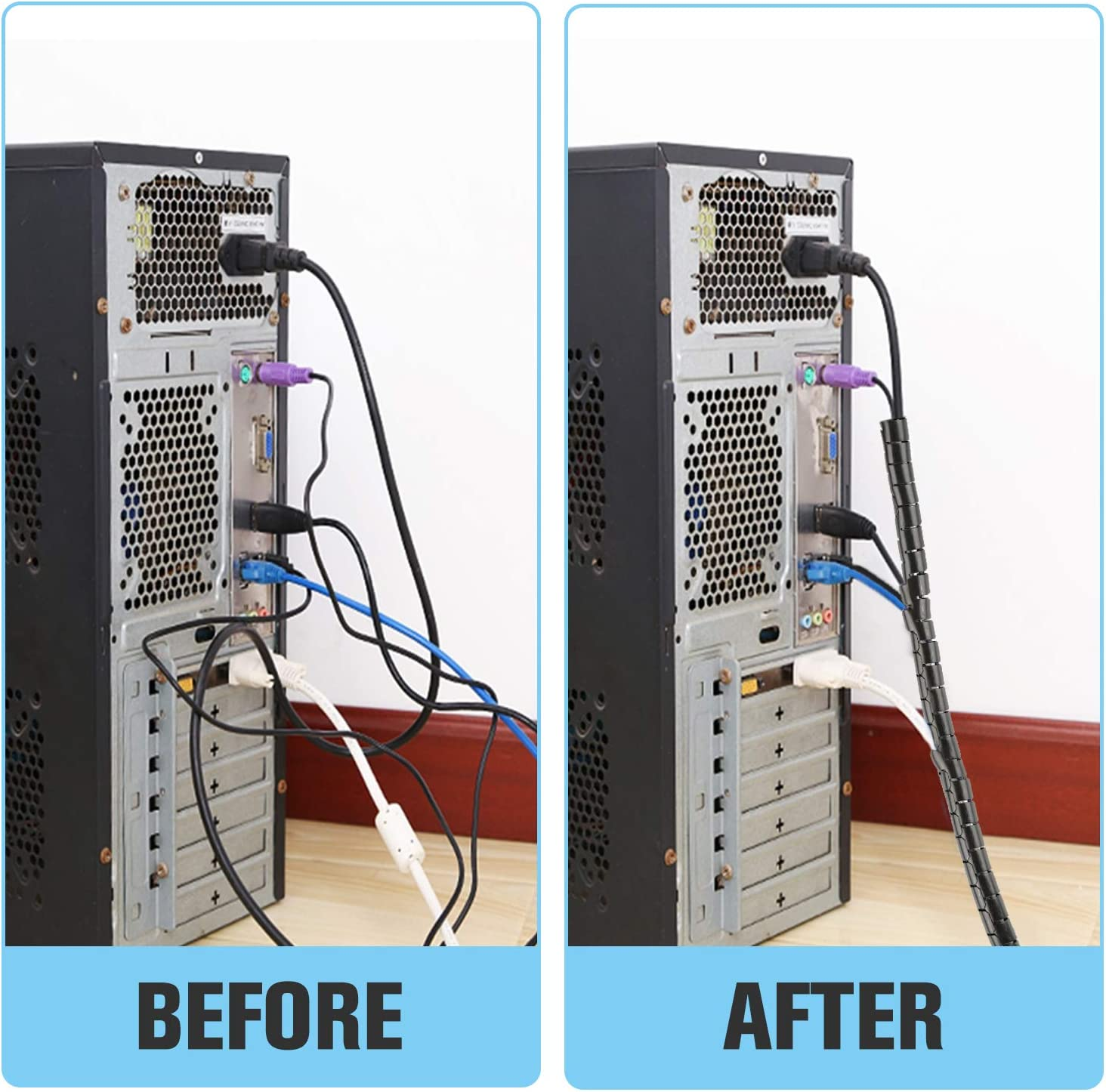 Computadora Negro Autom/ático Cubre Cables Para TV 2 X 1.5m Recoge Cables de Material PET /∅ 22 und /∅16 mm VoJoPi Organizador Cables
