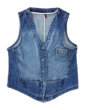 f8354242382a5 IDEALSANXUN Women s Casual Button Down Short Denim Vest Sleeveless Jeans  Jacket (Blue