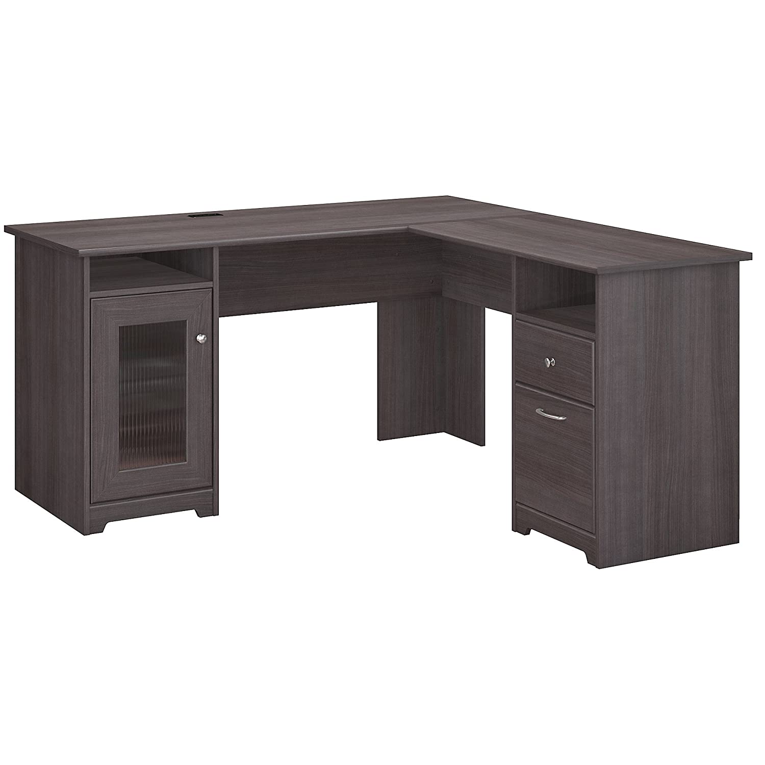 Amazon com bush furniture cabot l shaped computer desk in heather gray kitchen dining