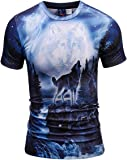 Xswsy XG Mens Stylish Short Sleeve Crewneck Digital Print Slim T-Shirt Blouse