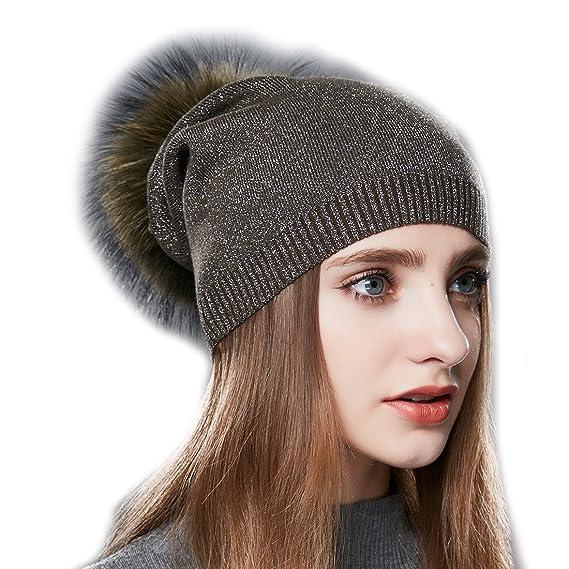 cc97643194c URSFUR Femme Hiver Chapeau Bonnet Jersey Béret Beanie Tendance Laine Bonnet  Pompon Fourrure Fille armée vert