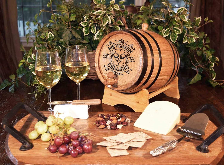 B392 Custom Engraving Thousand Oaks Barrel Co 1 Liter Premium Toasted Oak Aging Barrel Age your Own Wine Personalized Wine Barrel Great Wine Cellar D/écor