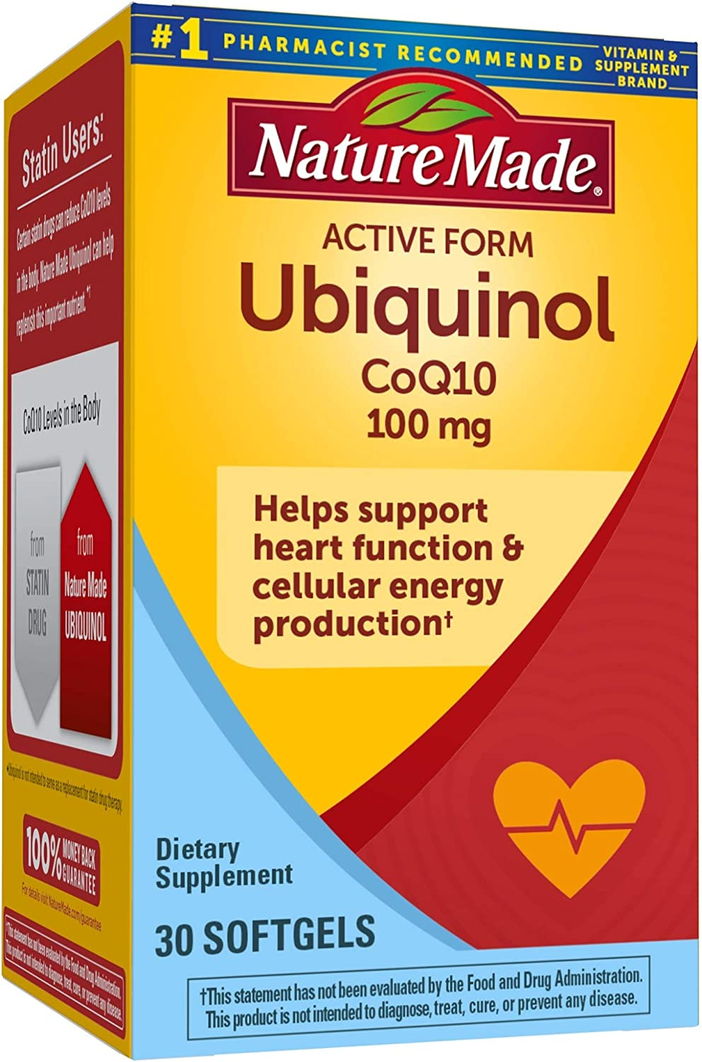 Nature Made Ubiquinol CoQ10 100 mg Softgels, 30 Count for Heart Health† (Packaging May Vary)