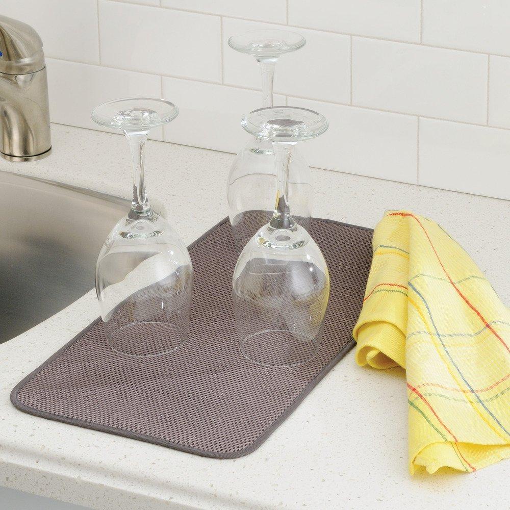 InterDesign iDry Tappetino lavello, Piccolo e sottile tappetino cucina in poliestere per asciugatura veloce delle stoviglie, marrone scuro/avorio 40031 Superiore acqua alimentari