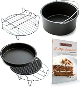 Air Fryer Accessories XL for Power Airfryer XL Gowise and Phillips, Set of 5, includes a recipe book Fit all 5.3QT - 5.8QT
