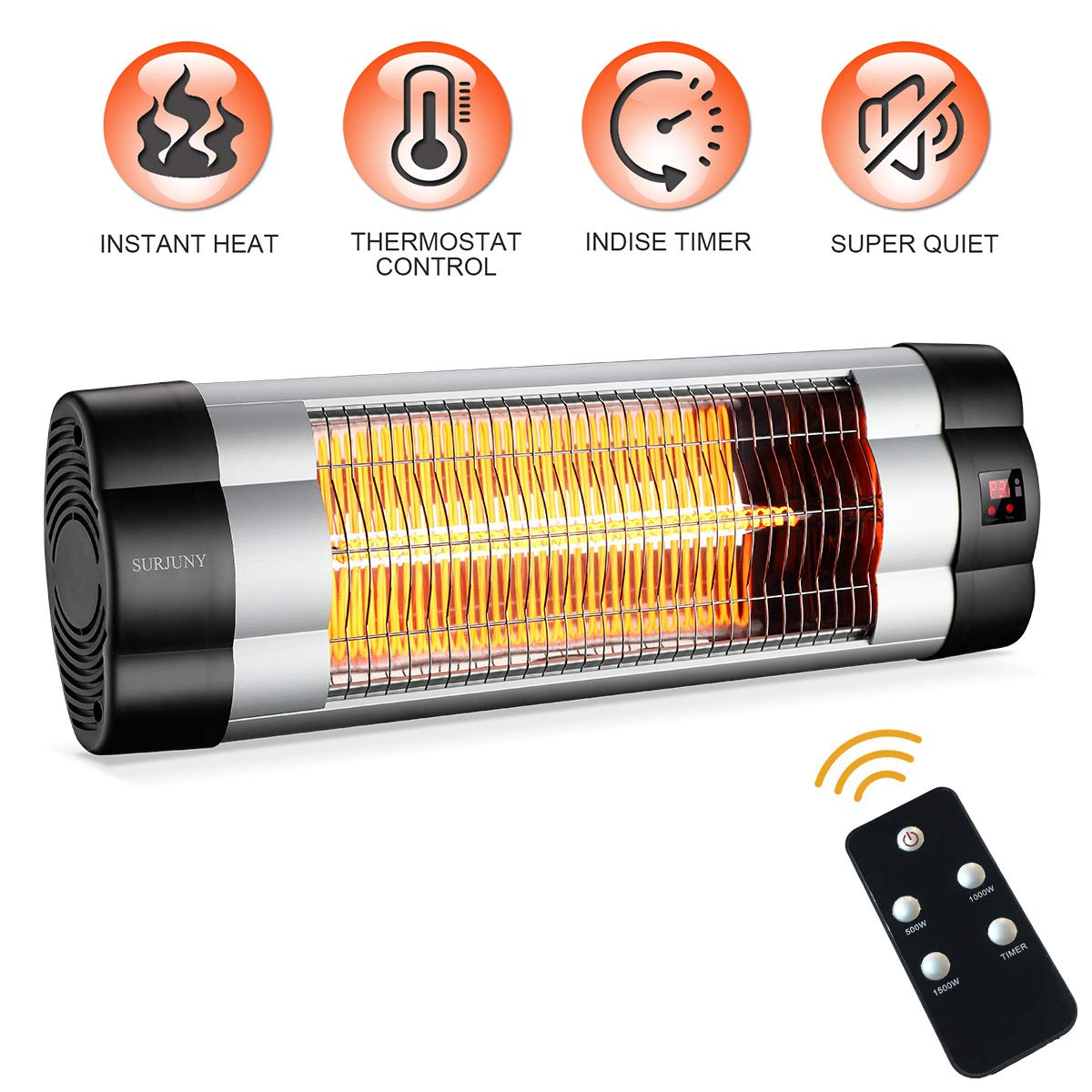 SURJUNY Patio Heater, Electric Wall-Mounted Outdoor Heater with LCD Display, Indoor Outdoor Infrared Heater, 1500W Adjustable Thermostat, 3 Seconds Instant Warm, Waterproof IP34 Rated, W01