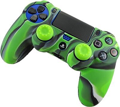 DOTBUY PS4 Controller Funda Siliconas Protector Protectora Mando de PlayStation 4 PS4 Slim PS4 Pro Game Cubierta de de 1 Colores con 1 Pares de Agarres Pulgar (Camo Verde): Amazon.es: Electrónica