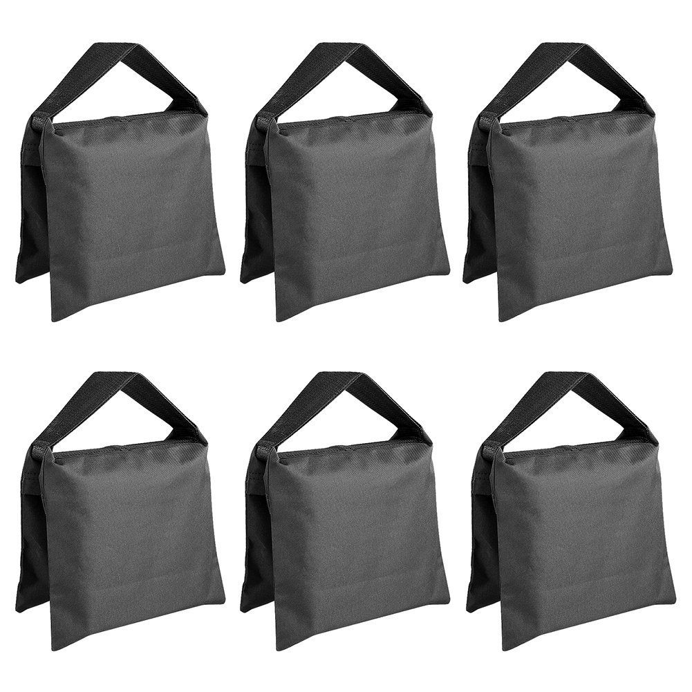 Neewer 6 Pack Black Sand Bag Photography Studio Video Stage Film Saddlebag for Light Stands Boom Arms Tripods by Neewer