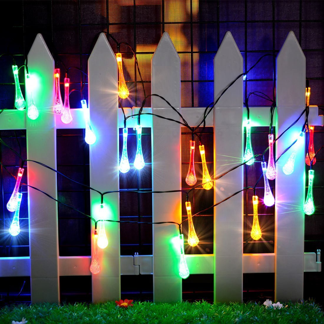 Solar String Lights,30 LED Christmas lights water drop, waterproof solar powered fairy lights garden decrotion,8 Modes twinkling outdoor or indoor lights (Colorful)