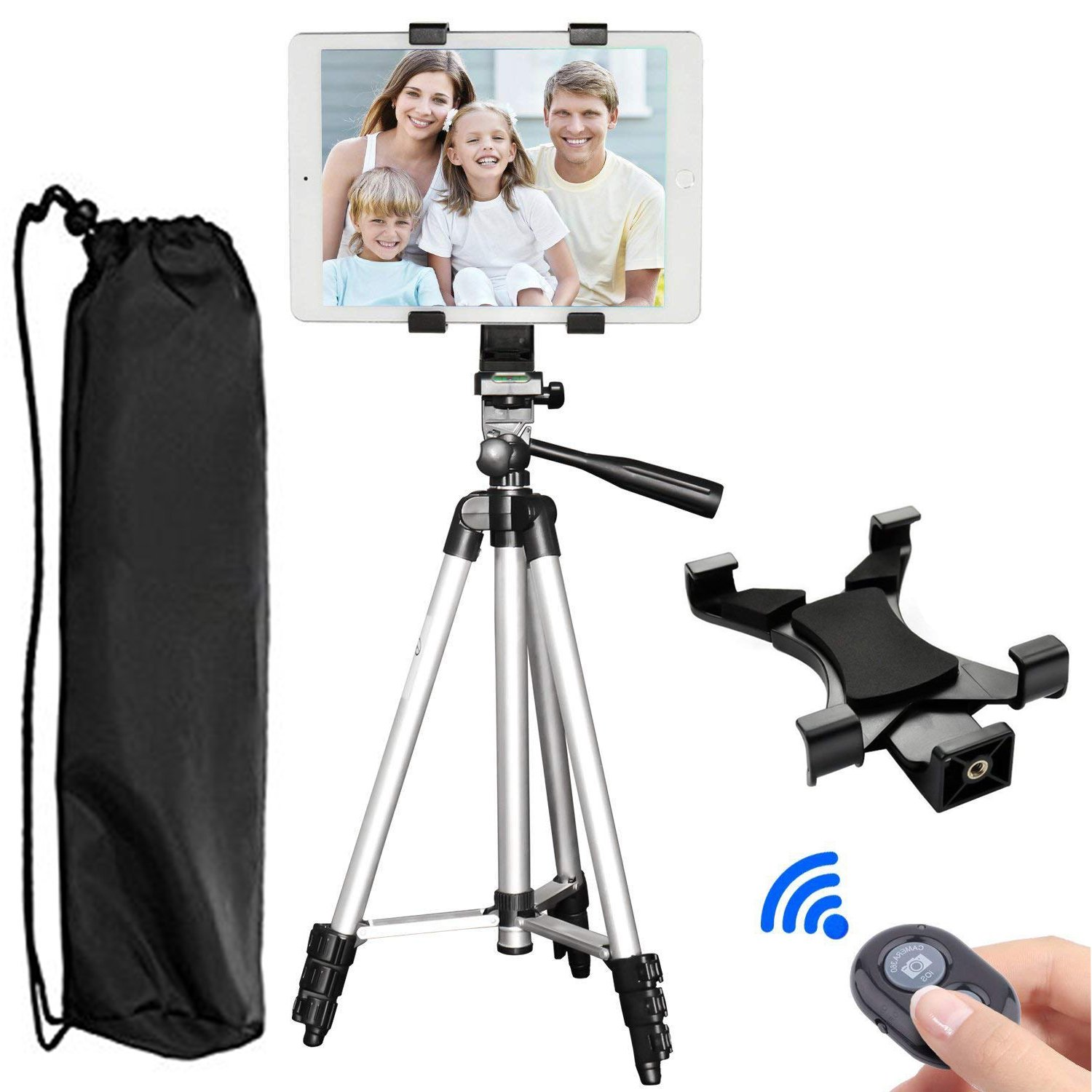 Tablet Tripod, PEYOU 42'' inch Portable Lightweight Adjustable Aluminum Camera Tablet Tripod + Universal Mount Tablet Holder + Bluetooth Wireless Remote Shutter Compatible for iPad Samsung Kindle Fire
